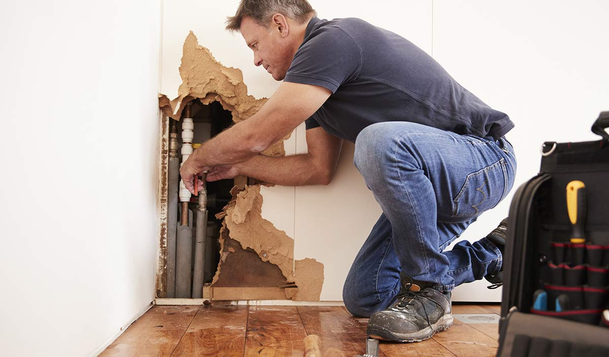 Fixing a burst pipe